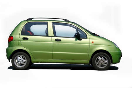 green car is sideways isolated on white background