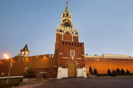 spassky: Moscow Kremlin Spasskaya Tower in the evening