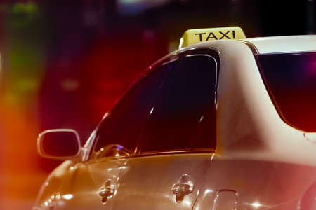 taxi in night city a close up photo