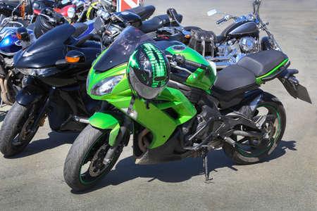 bike parking: powerful motorcycles on parking