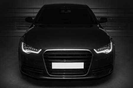 beautiful black powerful sports car
