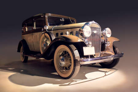 ancient car shined with bright light photo