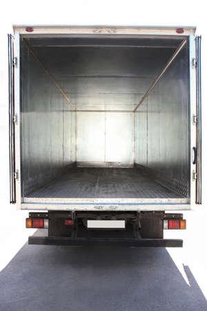 トラックの金属の空のコンテナーを開く 写真素材