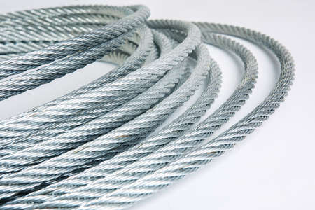 steel wire: steel rope reeled up in roll Stock Photo