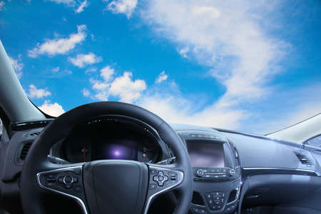 beautiful sky from salon of modern car photo