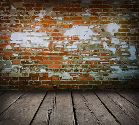 Studio background with brick wall and  timber floor photo