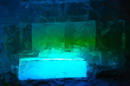 ice transparent wall from rectangular blocks photo