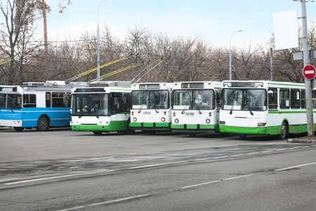 deadlock: trolleybuses row on asphalted parking