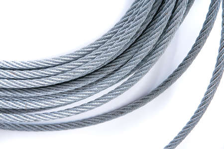 steel cable: steel rope reeled up in roll Stock Photo
