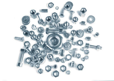 man nuts: chromeplated bolts and nuts on white background