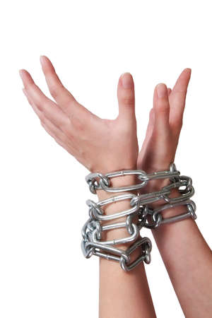 female hands tied by chain isolated on white background photo