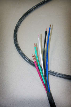 lagging: power electric cable with five color wires Stock Photo
