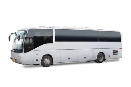 side by side: big tourist bus on white background Stock Photo
