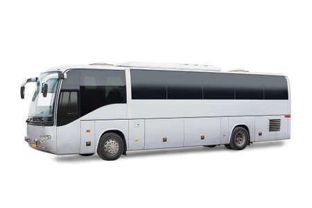 tourist tourists: big tourist bus on white background Stock Photo