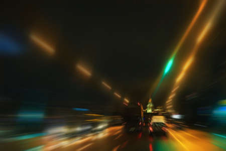 night highway: night highway with moving cars Stock Photo