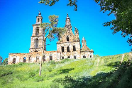 atheism: old destroyed brick orthodox church