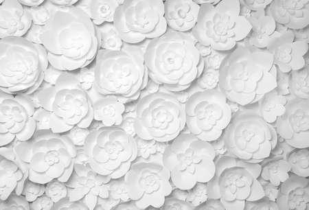 Fiori di carta bianchi su sfondo bianco Archivio Fotografico - 36597499