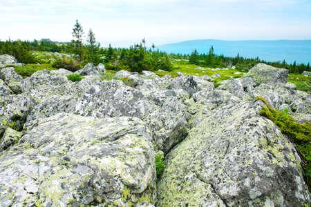 backwoods: stone boulders before wild landscape