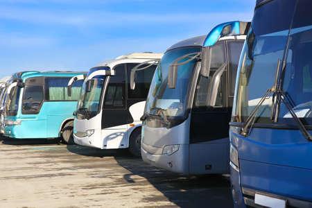 big tourist buses on parking Banco de Imagens