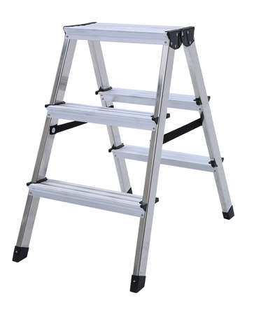 Aluminum metal step-ladder isolated white background Stock Photo
