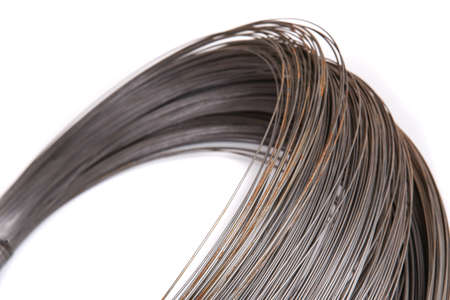 roll of metal wire on white background Stock Photo