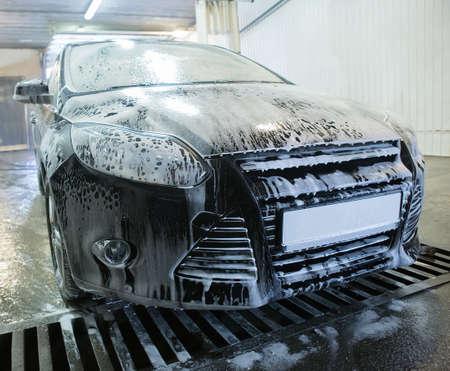 car at car wash shampoos Stock Photo