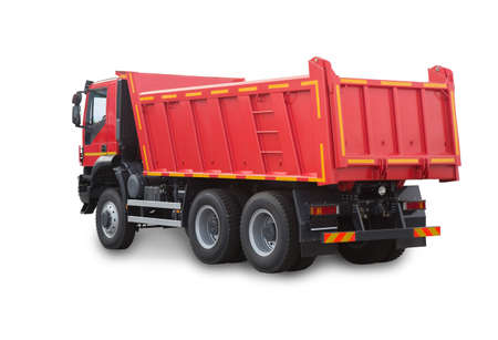 dumptruck: Red truck isolated on white background