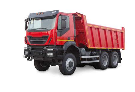 新しい赤いダンプ トラック白で隔離 写真素材