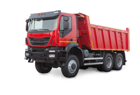 new red dump truck isolated on white