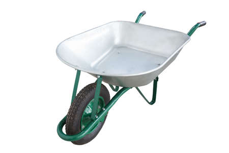 wheelbarrow: metal Wheelbarrow, with one wheel isolated