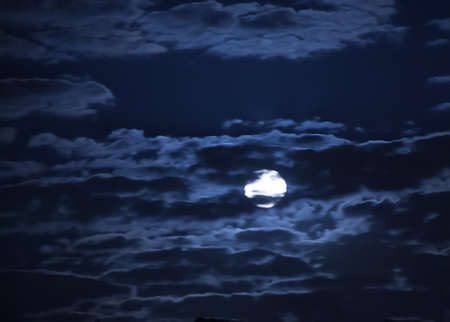 blue cloudy sky: moon in the dark blue cloudy sky
