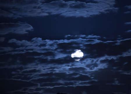 moon in the dark blue cloudy sky