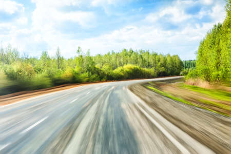 country highway: movement on the summer country highway