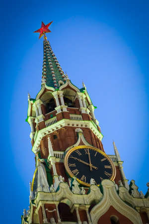 spasskaya: Spasskaya Tower of the Moscow Kremlin close up Stock Photo