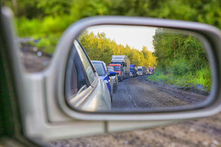 country highway: traffic jam on country highway in summer Stock Photo