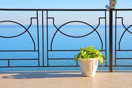 hotel balcony: view of sea from balcony of hotel in summer Stock Photo