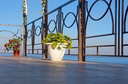 balcony view: view of sea from balcony of hotel in summer Stock Photo