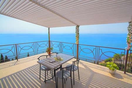 beach view: Crimea a balcony overlooking the Black Sea Stock Photo