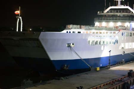 mooring: big ferry at the Crimean mooring at night Stock Photo