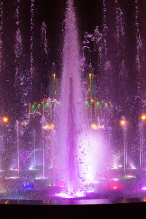chelyabinsk: color fountain in center of Chelyabinsk Russia at night