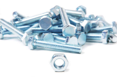 chromeplated: chromeplated bolts and nuts on white background