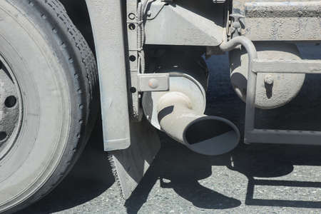 exhaust pipe: exhaust pipe of big truck close up Stock Photo