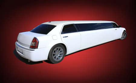 big white limousine on red black gradient background Zdjęcie Seryjne