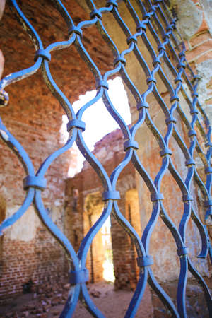 lattice window: lattice window and interior of old ruins of church Stock Photo