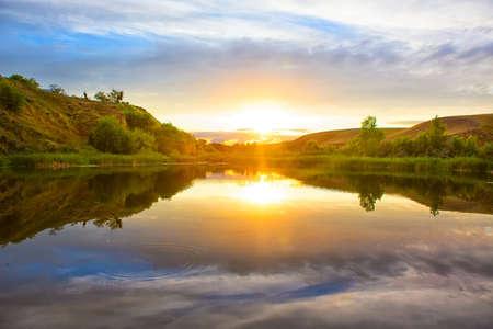 volga river: beautiful sunset on the Volga River Russia