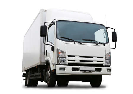 белый грузовик он изолирован на белом фоне