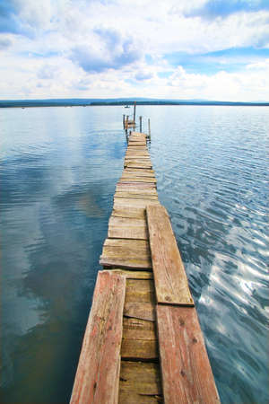 footway: wooden planked footway over the lake Zyuratkul South Ural Russia