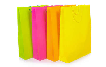 yellow paper: Colour paper packages on white background