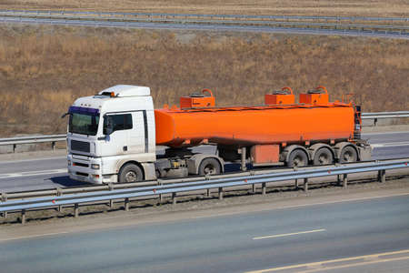 fuel truck: big fuel truck goes on the country highway
