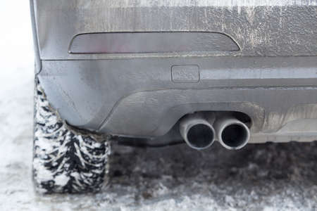 car exhaust: exhaust pipe car smoke winter snow